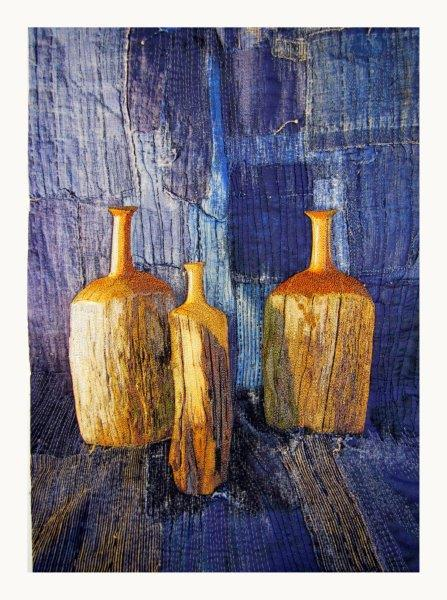 Still Life: Three Wooden Vases and Boro